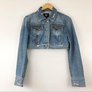 Dollhouse Cropped Distressed Stud Denim Jacket L
